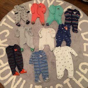 Newborn footed pajama sleepers